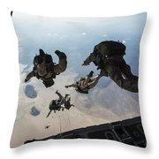 U.s. Pararescuemen And U.s. Marines Throw Pillow