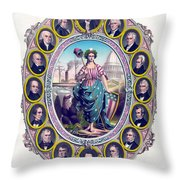 Us Presidents And Lady Liberty  Throw Pillow
