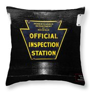 Us Route 66 Smaterjax Dwight Il Official Inspection Signage Throw Pillow