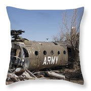 U.s. Soldier Inspects The Wreckage Throw Pillow