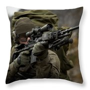 U.s. Special Forces Soldier Armed Throw Pillow by Tom Weber