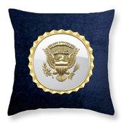 Vice Presidential Service Badge On Blue Velvet Throw Pillow