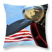 Usa Flag Bomber Wwii  Throw Pillow