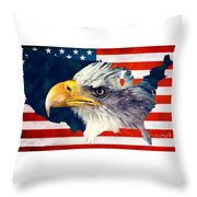 Usa Flag Eagle Throw Pillow