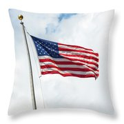 Usa Flag On Blue Sky With Clouds Throw Pillow