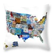 Usa License Plates Map 4p Throw Pillow