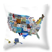 Usa License Plates Map 4p Throw Pillow
