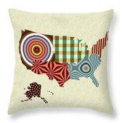 Usa Map Throw Pillow
