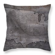 Usa Map Outline On Concrete Wall Slab Throw Pillow