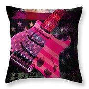 Usa Pink Strat Guitar Music Throw Pillow