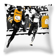 Usain Bolt Bringing It Home Throw Pillow
