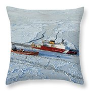 Uscg Healy Breaks Ice Throw Pillow