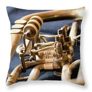 Used Old Trumpet, Closeup Throw Pillow
