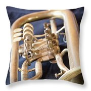 Used Old Trumpet. Vertically. Throw Pillow