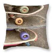 Used Skateboards Throw Pillow