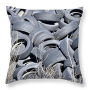Used Tires At Junk Yard Throw Pillow