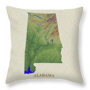 Usgs Map Of Alabama Throw Pillow