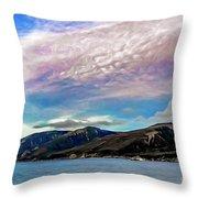 Ushuaia, Ar, Clouds Over Mountains Throw Pillow