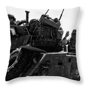 Usmc On The Move In A Lav-25 Throw Pillow