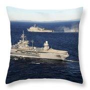 Uss Blue Ridge Conducts Flight Throw Pillow
