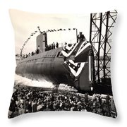Uss Nautilus Slips Into The Thames Throw Pillow