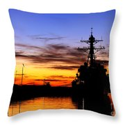 Uss Spruance Is Pierside At Naval Throw Pillow