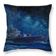 Uss Truxtun Dlgn-35 A Nuclear-powered Cruiser At Sea At Night Under The Milky Way Throw Pillow