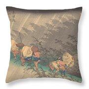 Utagawa Hiroshige    Shno Hakuuwhite Rain At Shno Throw Pillow