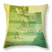Utah Map Square Cities Straight Pin Vintage Throw Pillow