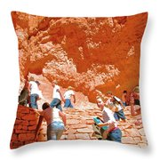 Utah Seventh Graders Climb Up Switchbacks On Wall Street On Navajo Trail In Bryce Canyon National Pa Throw Pillow