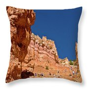 Utah Seventh Graders Climbing Switchbacks On Wall Street, Navajo Trail In Bryce National Park, Utah Throw Pillow