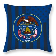 Utah State Flag Graphic Usa Styling Throw Pillow