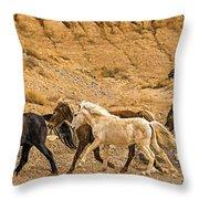 Ute Mountain Wild Horses On The Run Throw Pillow