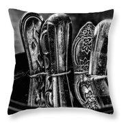 Utensils Reflected - Bw Throw Pillow