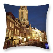 Utrecht Cathedral At Night Throw Pillow
