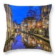 Utrecht From The Bridge By Night Throw Pillow