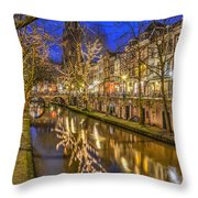 Utrecht Old Canal By Night Throw Pillow