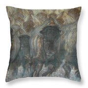Uttc Buffalo Mural Right Panel Throw Pillow