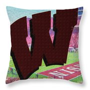 Uw Game Day Poster - Oil Throw Pillow