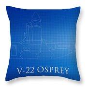 V-22 Osprey Blueprint Throw Pillow