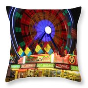 Vacant Carnival Bench Throw Pillow