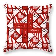 Valentine 4 Square Quilt Block Throw Pillow