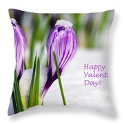 Valentines Day Crocuses Throw Pillow