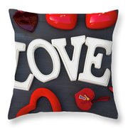 Valentines Day Hearts Throw Pillow
