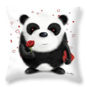 Valentine's Panda Throw Pillow