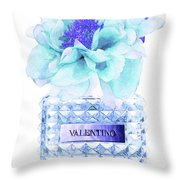 Valentino Blue Perfume Throw Pillow