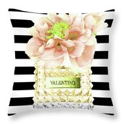 Valentino Perfume With Flower Throw Pillow