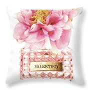 Valentino Pink With Peony Throw Pillow