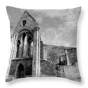 Valle Crucis Abbey Monochrome Throw Pillow