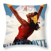 Vallee D'aoste - Aosta Valley, Italy - Retro Travel Poster - Vintage Poster Throw Pillow